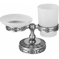 Держатель мыльницы и стакана настольный для ванной комнаты ZorG AZR 22 SL